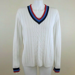 White Cotton Cable Knit V-Neck Tennis Sweater XL